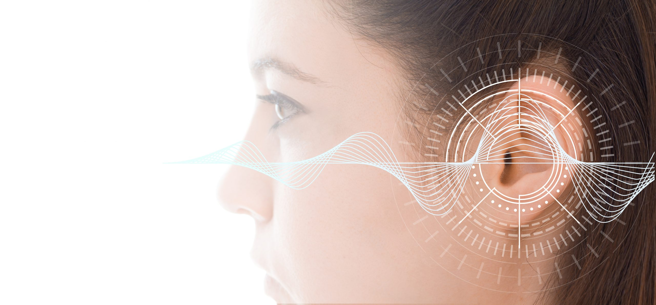 Hearing test showing ear of young woman with sound waves simulation technology - isolated on white banner